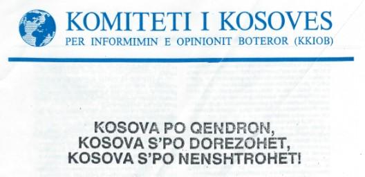Dokumente të Lëvizjës Kombëtare të Kosovës: Komiteti i Kosovës për Informimin e Opinionit Botëror (KKIOB)